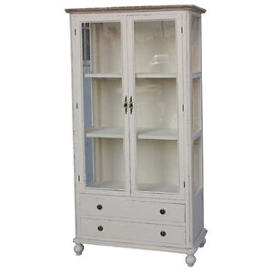 bookcase china display cabinet shabby chic vintage french style antique cream ebay. Black Bedroom Furniture Sets. Home Design Ideas
