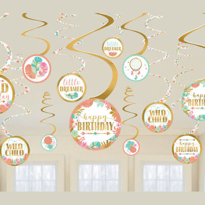 1st BIRTHDAY Boho Girl HANGING SWIRL DECORATIONS (12) ~ Party Supplies Plastic](Boho Birthday Party)