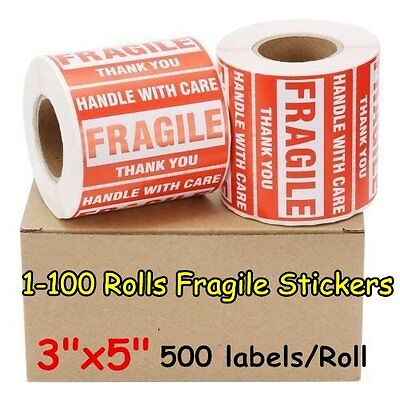 1-100 Rolls 3 X 5 Fragile Stickers Handle With Care Label 500roll Self Adhesive