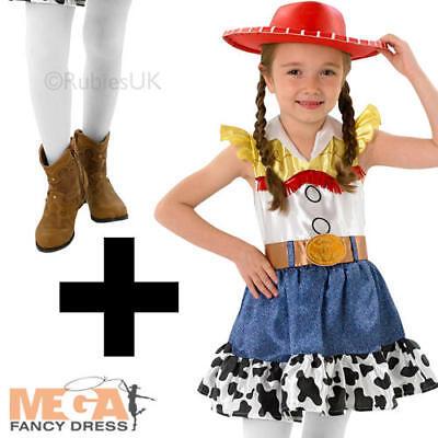 Jessie + Tights Toy Story Girls Fancy Dress Kids Cowgirl Disney Western - Jessie Kids Costume