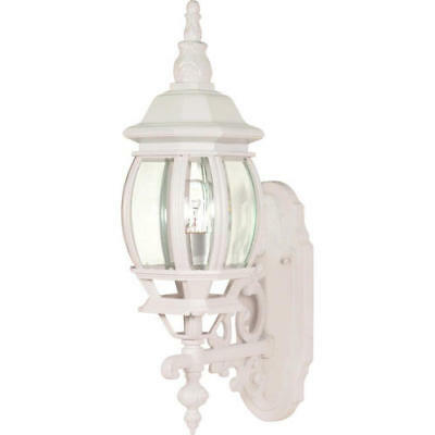 White Outdoor Wall Light Clear Beveled Glass Classic Transitional Lantern -