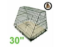 Hardly used Ellie-Bo Deluxe Sloping Puppy Cage Folding Dog Crate with Metal Tray, Medium, 30""