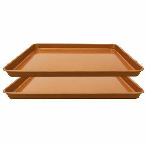 "Set 2 Nonstick Copper Cookie Sheet  Copper Coating Baking Pan for Cookies 11x16"""