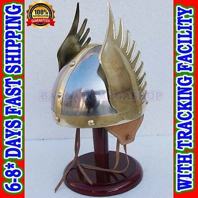 Medieval Viking Helmet For Sale  Winged Norman Armor Helm + Liner, Wearable SCA - Viking Helmets For Sale