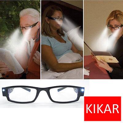 KIKAR Multi Strength LED Reading Glasses Light Up Diopter Eyeglass Plastic Case](Light Up Eyeglasses)