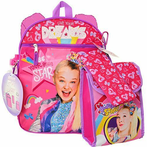 """Jojo Siwa 16"""" Backpack 5pc Set with Lunch Kit, Bottle Perfect Gift Licensed"""