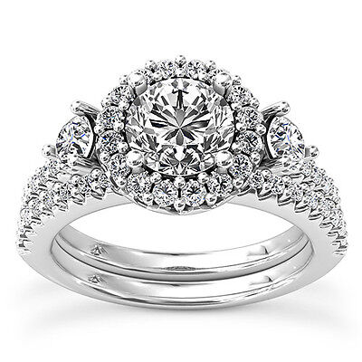 2 CT ROUND CUT D/SI DIAMOND SOLITAIRE ENGAGEMENT RING 14K WHITE GOLD ENHANCED