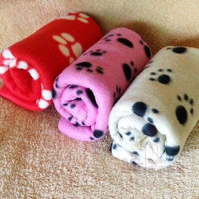 Pet Dog Cat Nice Soft Warm Fleece Paw Print Puppy & Kitten Blankets Car Bed Dog Cat Pet Bed Car