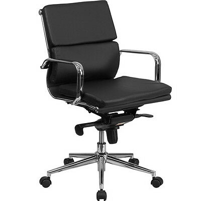 Modern Office Conference Room Chair Black Leather Meeting Boardroom Chrome Base