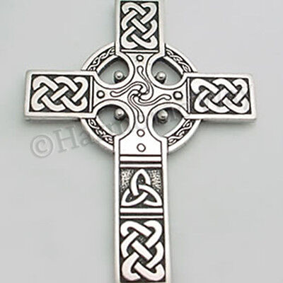 Extra Large  Celtic Cross   Detailed Pendant Necklace Celtic Knot Work