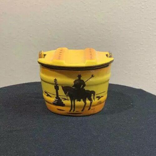 Vintage Don Quixote rare pottery jar with signature Yellow