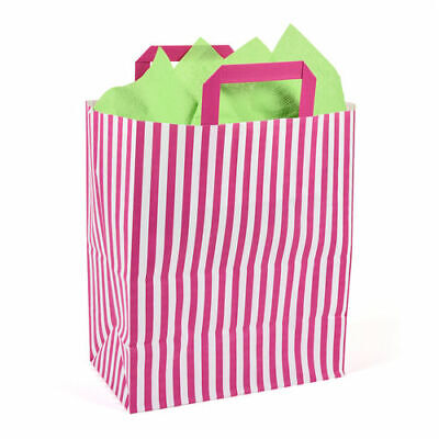 250 x 140 x 300mm Recyclable Pink Striped Paper Carrier Bag - Pack of 50