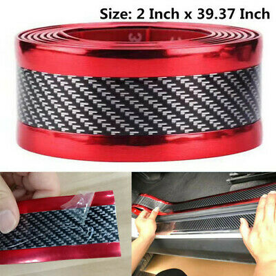 Car Parts - Car Parts Carbon Fiber Stickers Red Body Door Sill Bumper Anti-scratch Protector