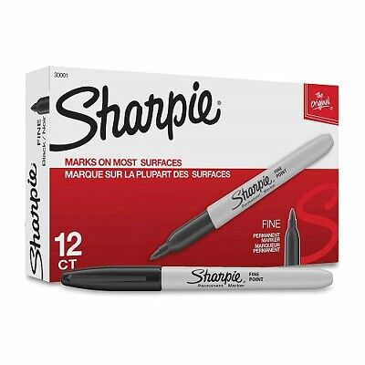 Sharpie Fine Point Permanent Markers Box Of 12 Markers Black 30001 New