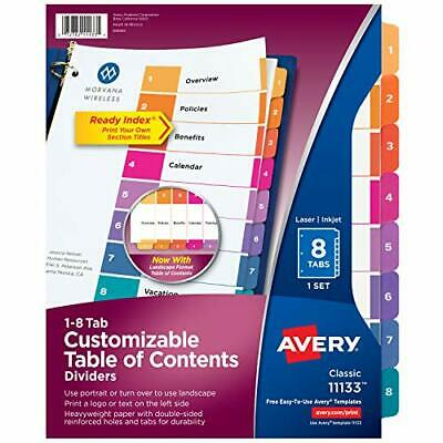 Avery 8-tab Dividers For 3 Ring Binders Customizable Table Of Contents Multico