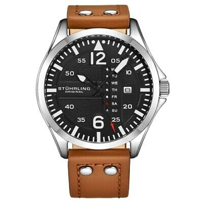 Stuhrling 3916 2 Aviator Day Date Brown Leather Strap Mens Watch