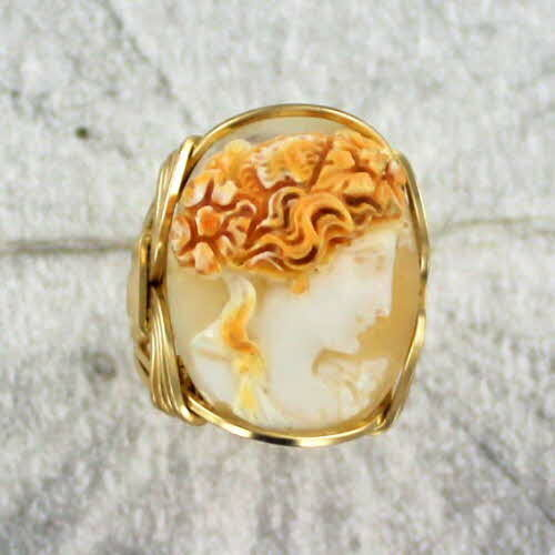 Antique Shell Cameo Ring in 14kt Rolled Gold  Wire Wrapped Size 7