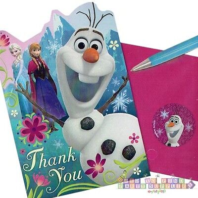 FROZEN THANK YOU NOTES (8) ~ Birthday Party Supplies Stationery Card Olaf - Frozen Thank You