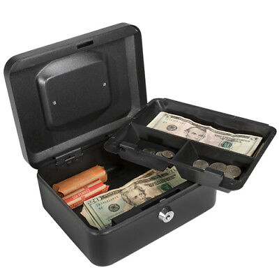Barska Compact Steel Cash Box Safe W Removable Tray And Key Lock Cb11830