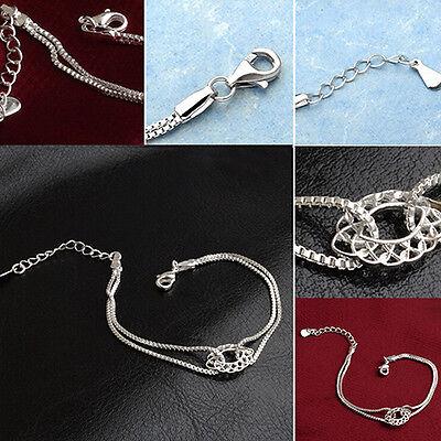 New Women's Fashion Jewelry Silver Plated Chain Charm Bangle Bracelet 18-11