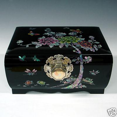 Boîte à Bijoux Asie Bois Laqué Luxe Rare Bague Collier Bracelt Montre Femme