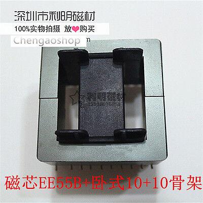 1set Ee55b 1010pins Ferrite Cores Bobbintransformer Coreinductor Coil Qm4 Zx