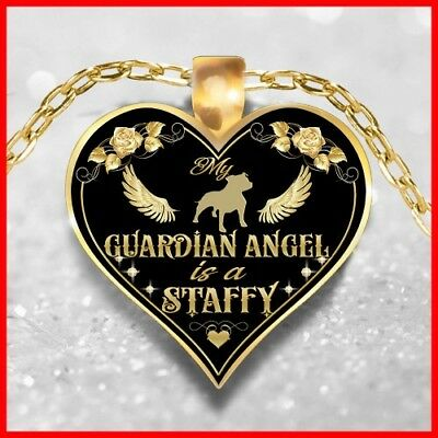 STAFFY IS MY ANGEL NECKLACE, STAFFIE JEWELRY, STAFFORDSHIRE BULL TERRIER PENDANT