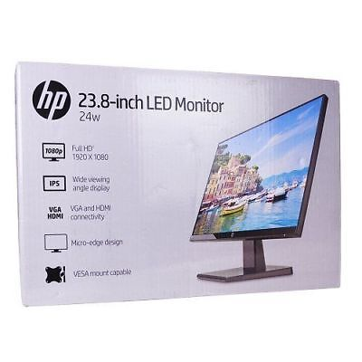 "HP 24w 23.8"" LCD Widescreen Monitor/HDMI/VGA/1CA86AA Movie-Game-Office FREE SHIP"