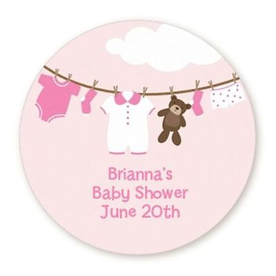 Pink Clothesline It's A Girl - Round Personalized Baby Shower Sticker - 6 sizes (Baby Shower Clothesline)