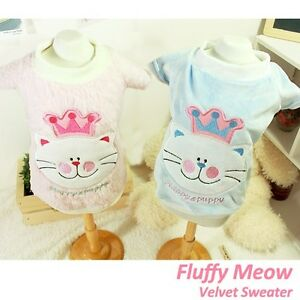 details about luxury pet apparel  fluffy meow sweater blue amp pink small