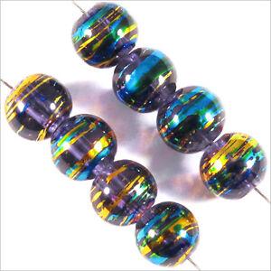 Lot-de-50-perles-en-verre-Decorees-6mm-Bleu-Lilas