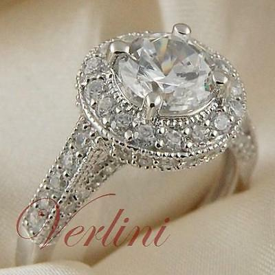 2.75 Ct Halo Engagement Ring Round Brilliant Cut AAA Cubic Zirconia Size 5-10