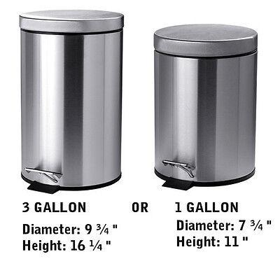 Stainless Steel Kitchen Trash Can Lid Garbage Bin Step Pedal Operate 1Gal / (Steel Kitchen Pedal Bin)