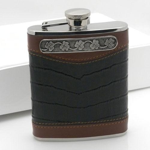 6 oz Leather Whiskey Flask with Irish Shamrock by Mullingar Pewter Captive Lid