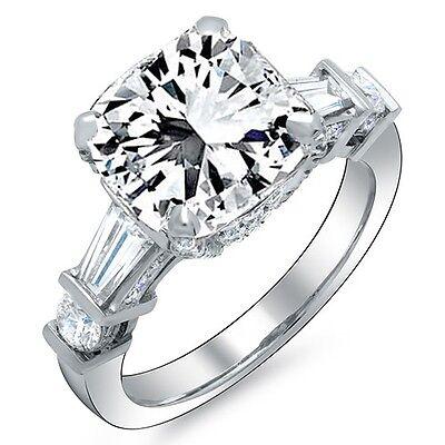 1.81 Ct. Radiant Cut, Baguette & Round Diamond Engagement Ring G,VS1 GIA 14K