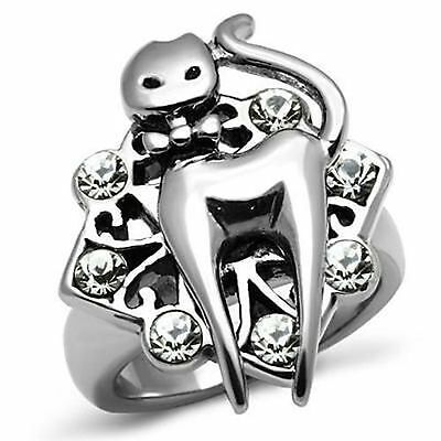 Ladies Cat Ring Crystal Stones Silver Stainless Steel Only Size 7 left Clearance ()