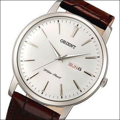 Orient Capital Quartz Dress Watch with Leather Strap, Domed Crystal #UG1R003W
