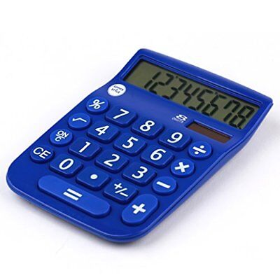 8 Digit Dual Powered Desktop Calculator, LCD Display, Blue- by Office + Style