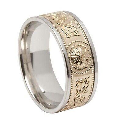 Silver & 10K Celtic Warrior Shield Wedding Ring Irish made BORU 12.25