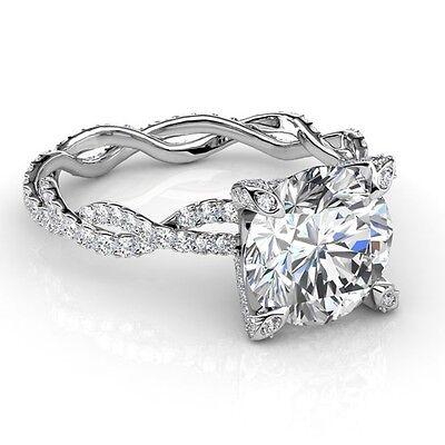 3.67 Ct Round Cut Diamond Infinity Design Engagement Ring Platinum G,SI1 GIA
