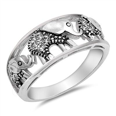 Elephant Design Band (Sterling Silver 925 PRETTY WALKING ELEPHANT CZ DESIGN BAND RING SIZES)