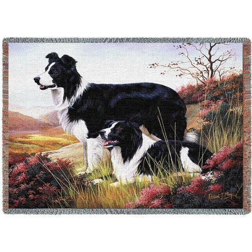 Throw Tapestry Afghan - Border Collie Pair by Robert May 1123