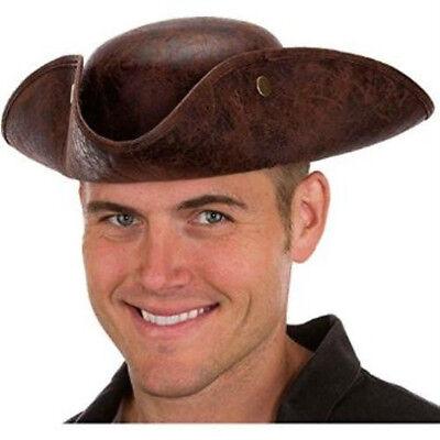 ADULT BROWN FAUX LEATHER COLONIAL PIRATE TRICORNE TRI-CORNER TRICORN COSTUME HAT](Pirate Costum)