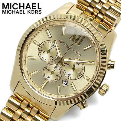 New Michael Kors MK8281 Lexington Gold Stainless Steel Chronograph Men