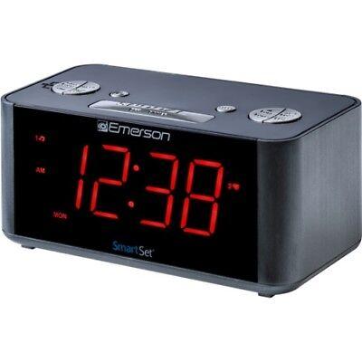 Emerson ER100201 Smartset Alarm Clock Black Gry