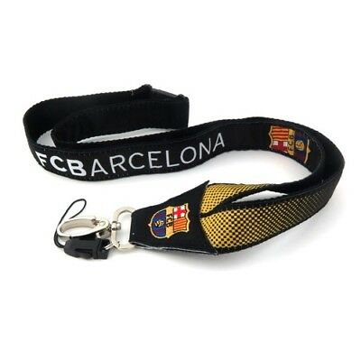 Fc Barcelona Premium Black Wooven Lanyard Officially Licensed Key Chain