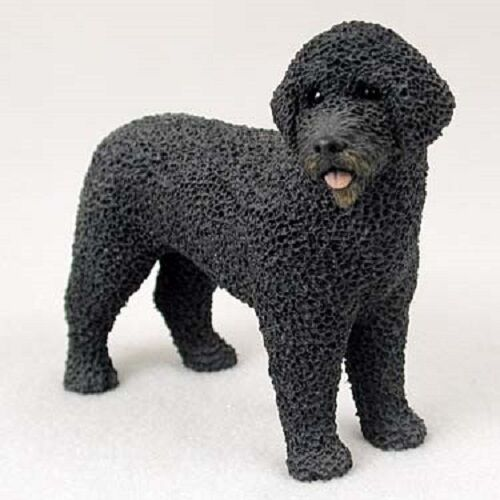 PORTUGUESE WATER DOG resin HAND PAINTED FIGURINE Statue COLLECTIBLE black puppy