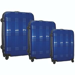 Mc BRINE* ECO FRIENDLY 3-Piece SPINNER LUGGAGE SET - BLUE