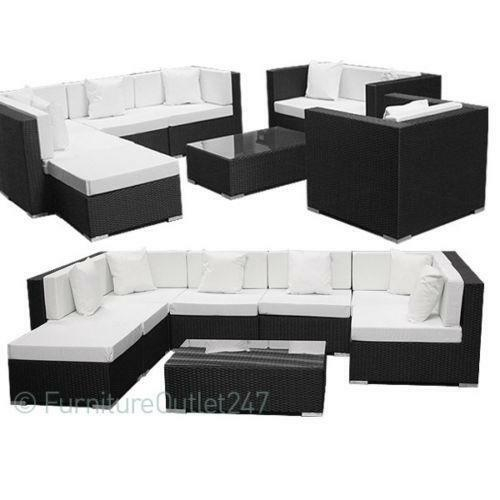 rattan corner sofa garden patio furniture ebay. Black Bedroom Furniture Sets. Home Design Ideas