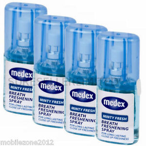 4 X MEDEX 20ml MINTY FRESH BREATH FRESHENER MOUTH SPRAY BAD BREATH LONG LASTING